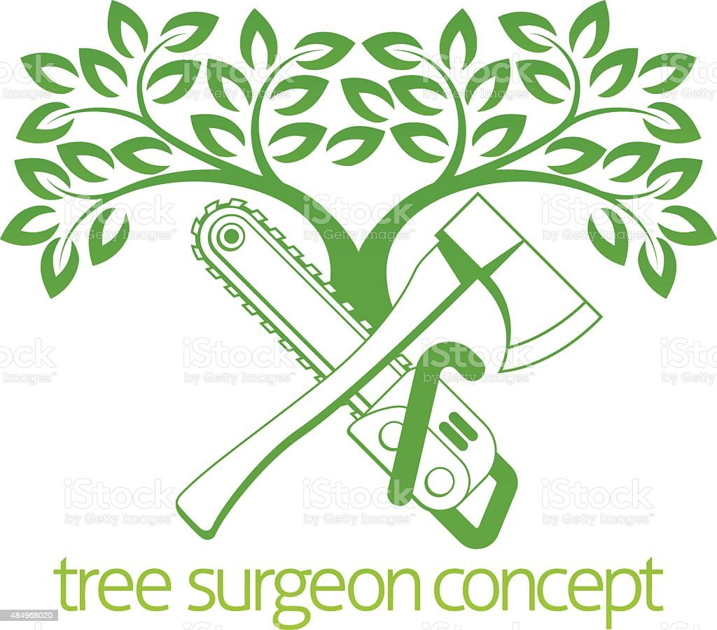 Tree Surgeon Axe and Cainsaw Design vector art illustration