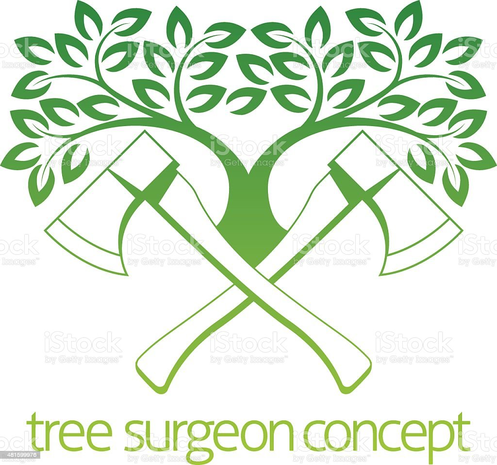 Tree Surgeon Axes and Tree Design vector art illustration