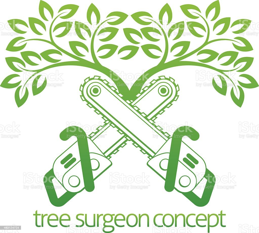 Tree Surgeon Cainsaws and Tree Design vector art illustration