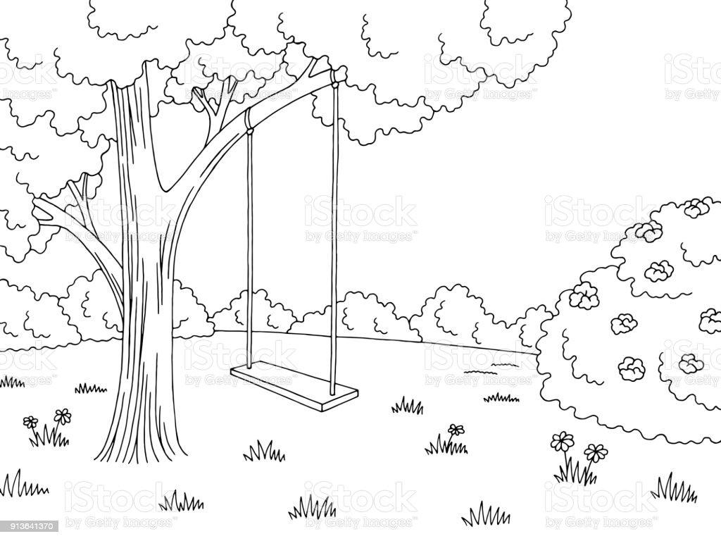 Vetores De árvore Balanço Gráfico Preto Branco Floresta