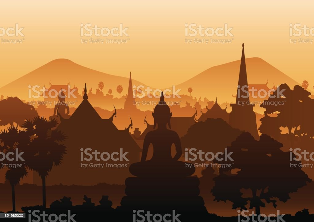 tree temple image of Buddha sculpture pagoda sea,Myanmar,Thailand vector art illustration