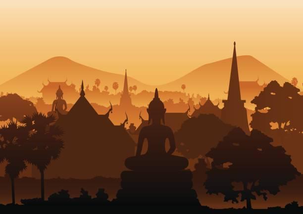 stockillustraties, clipart, cartoons en iconen met boom tempel afbeelding van boeddha beeld pagode zee, myanmar, thailand - thailand