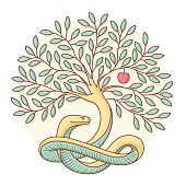 Tree the knowledge of good and evil with snake, apple