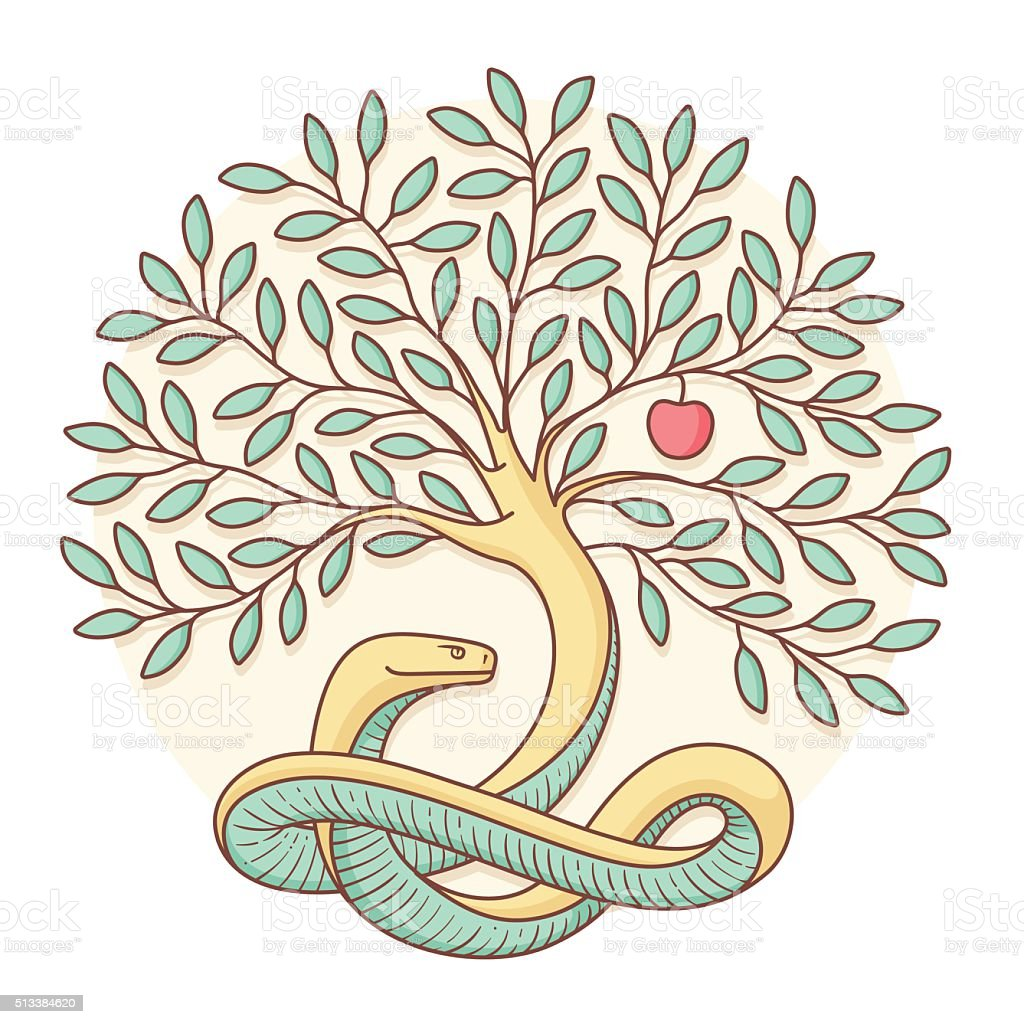 Tree the knowledge of good and evil with snake, apple vector art illustration