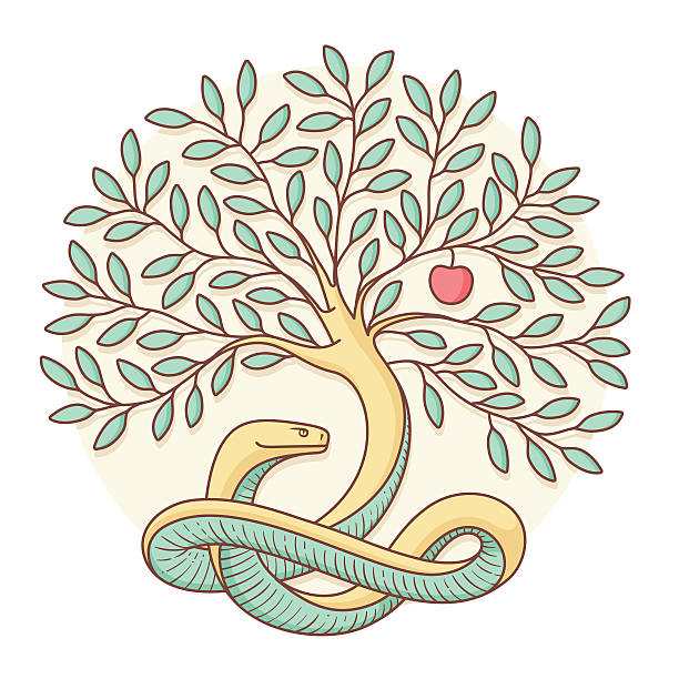 Tree the knowledge of good and evil with snake, apple Tree the knowledge of good and evil with snake, apple. Colorful design. Vector Illustration seven deadly sins stock illustrations