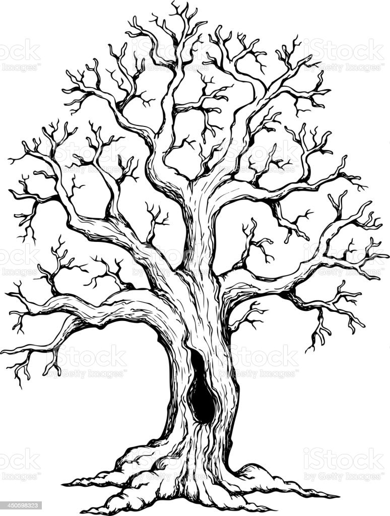 Tree theme drawing 1 royalty-free stock vector art