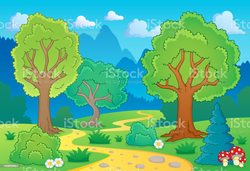 Tree theme landscape 1 royalty-free stock vector art