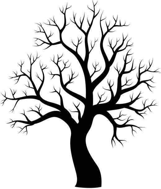 Albero con silhouette a tema Immagine 1 - illustrazione arte vettoriale