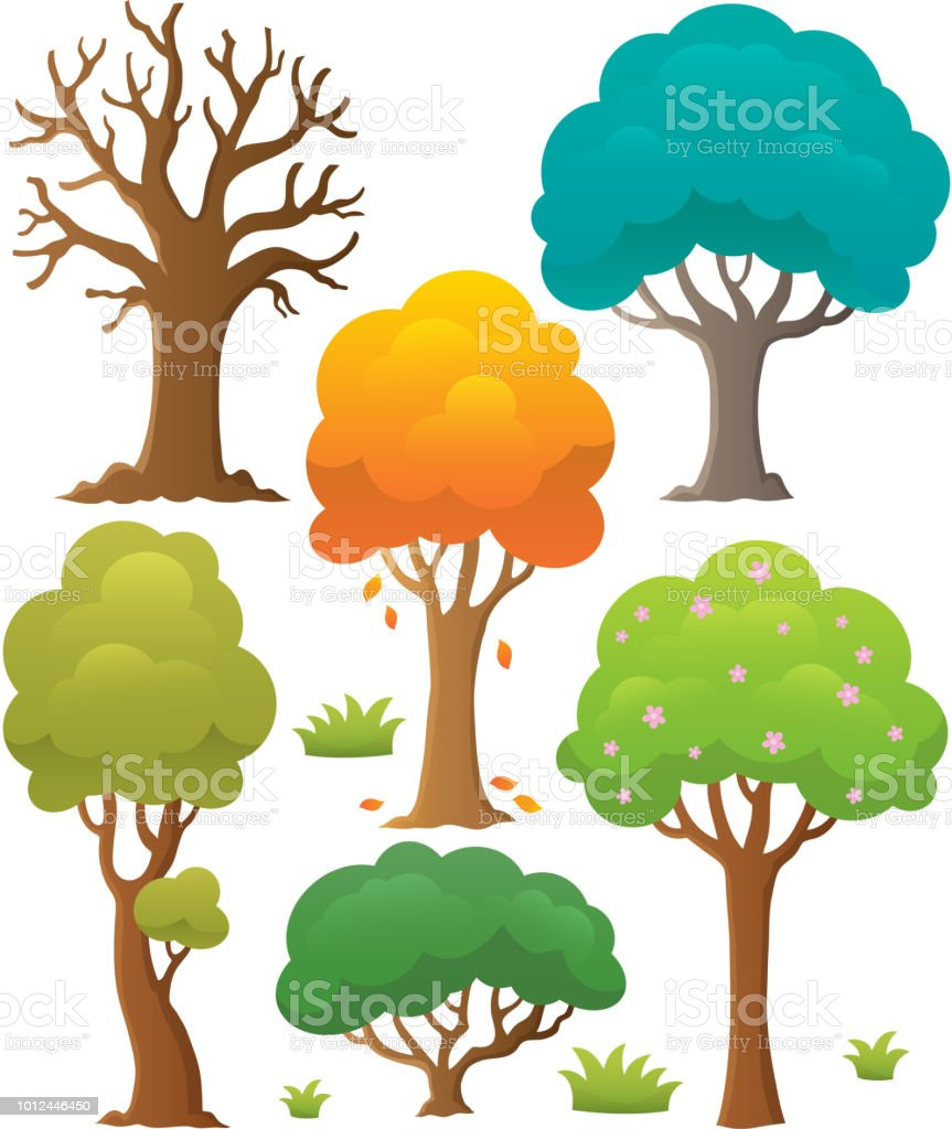 Tree topic collection 2 vector art illustration