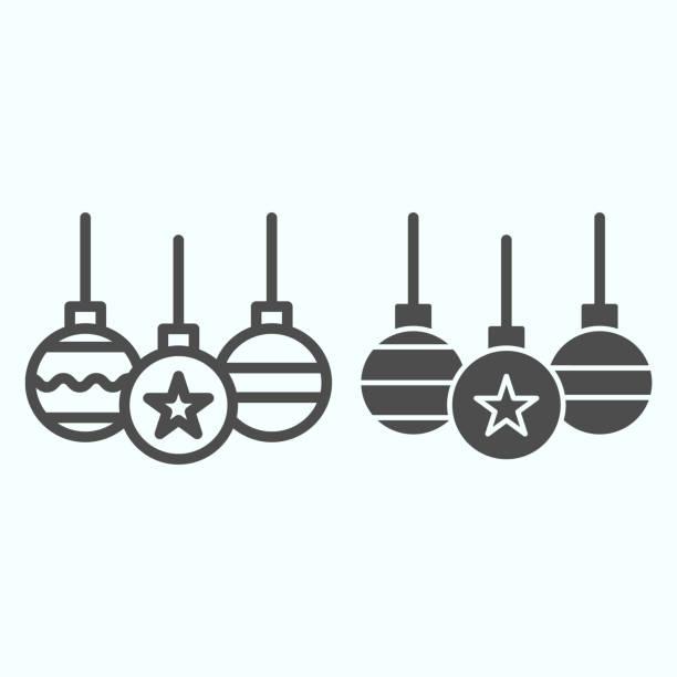 illustrazioni stock, clip art, cartoni animati e icone di tendenza di linea di giocattoli ad albero e icona solida. decorazione palle di vetro con onda e stella. concetto di design vettoriale natalizio, pittogramma in stile contorno su sfondo bianco, uso per web e app. eps 10. - souvenir