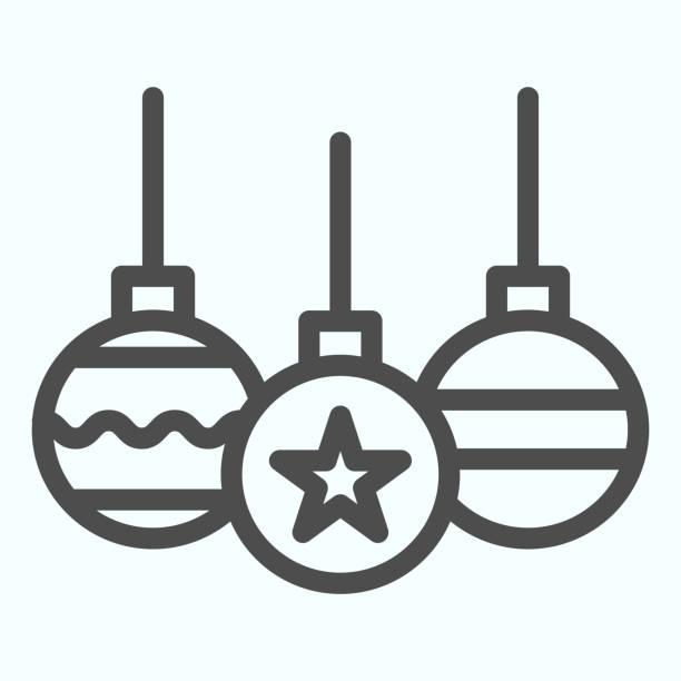 illustrazioni stock, clip art, cartoni animati e icone di tendenza di icona della linea di giocattoli ad albero. decorazione palle di vetro con onda e stella. concetto di design vettoriale natalizio, pittogramma in stile contorno su sfondo bianco, uso per web e app. eps 10. - souvenir