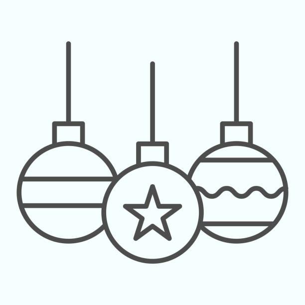illustrazioni stock, clip art, cartoni animati e icone di tendenza di icona linea sottile giocattoli albero. decorazione palle di vetro con onda e stella. concetto di design vettoriale natalizio, pittogramma in stile contorno su sfondo bianco, uso per web e app. eps 10. - souvenir