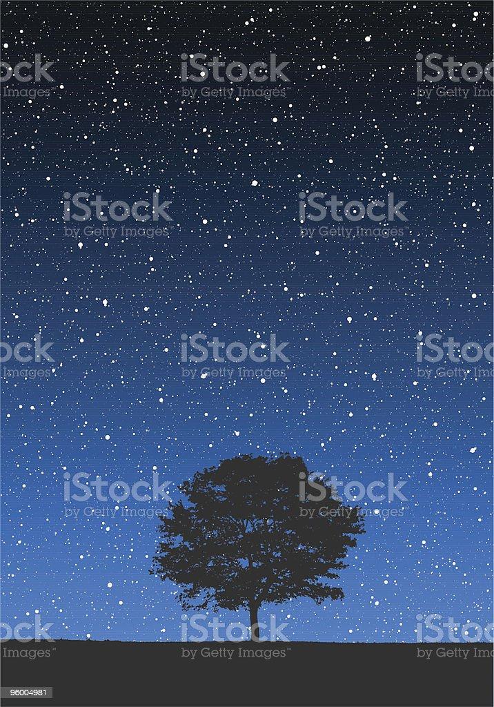 Tree Under Stars royalty-free stock vector art