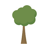 Tree vector illustration. Tree with green crown, treetop and brown trunk. Graphic print or icon, isolated on white background.