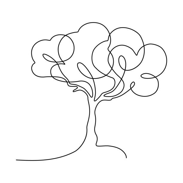 Tree Abstract tree in continuous line art drawing style. Minimalist black linear sketch isolated on white background. Vector illustration single object stock illustrations