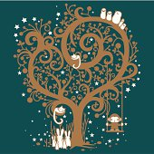 Vector illustration of a bunch of cute little creatures gathered around a magical golden tree.