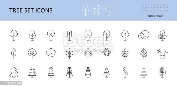 Tree vector set icons. Trees with crown, leaves, Christmas trees. Bushes linear icon editable stroke.