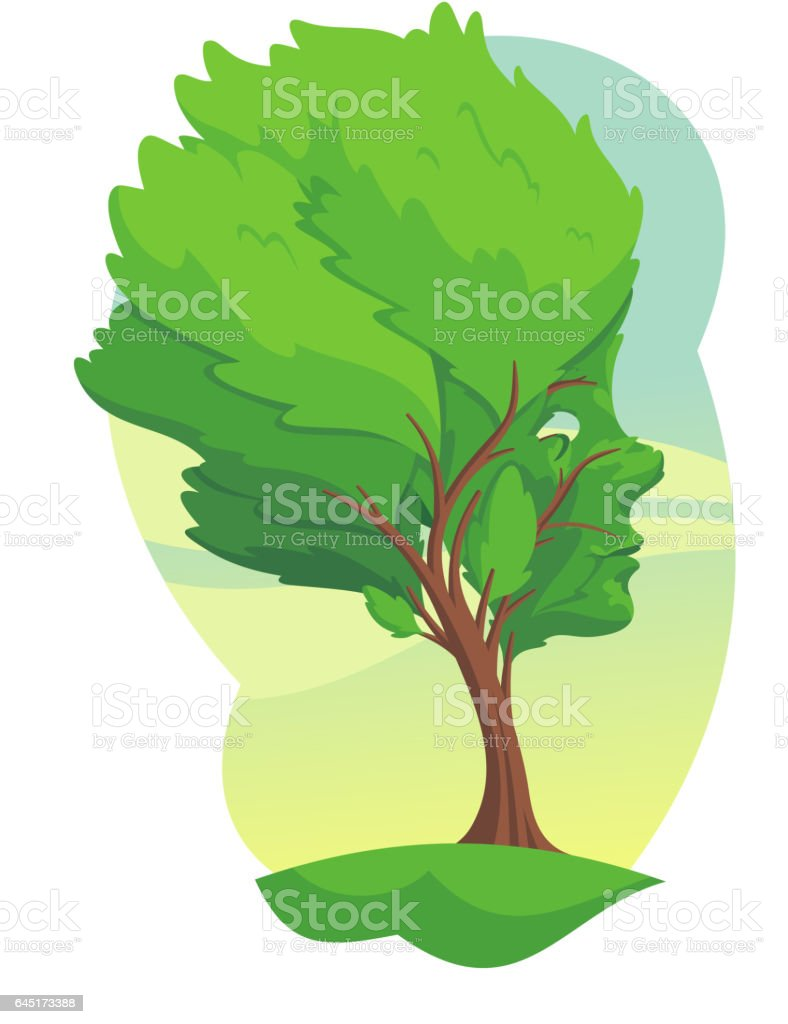 tree with a face vector art illustration