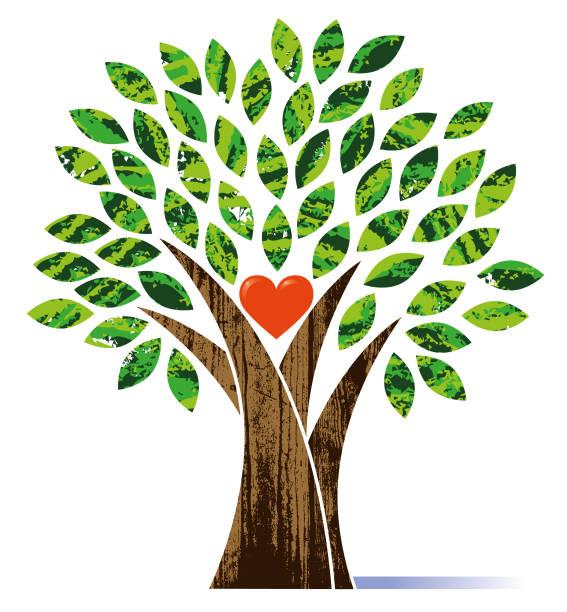 Tree with a heart illustration vector art illustration