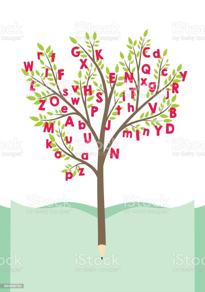 Árvore com letras do alfabeto - ilustração de arte em vetor
