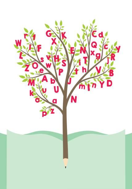 ilustrações, clipart, desenhos animados e ícones de árvore com letras do alfabeto - aula de idioma