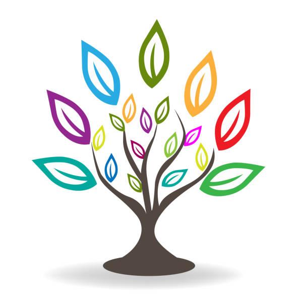 baum mit schönen bunten blätter. stammbaum-konzept-symbol lemplate - stammes tattoos stock-grafiken, -clipart, -cartoons und -symbole