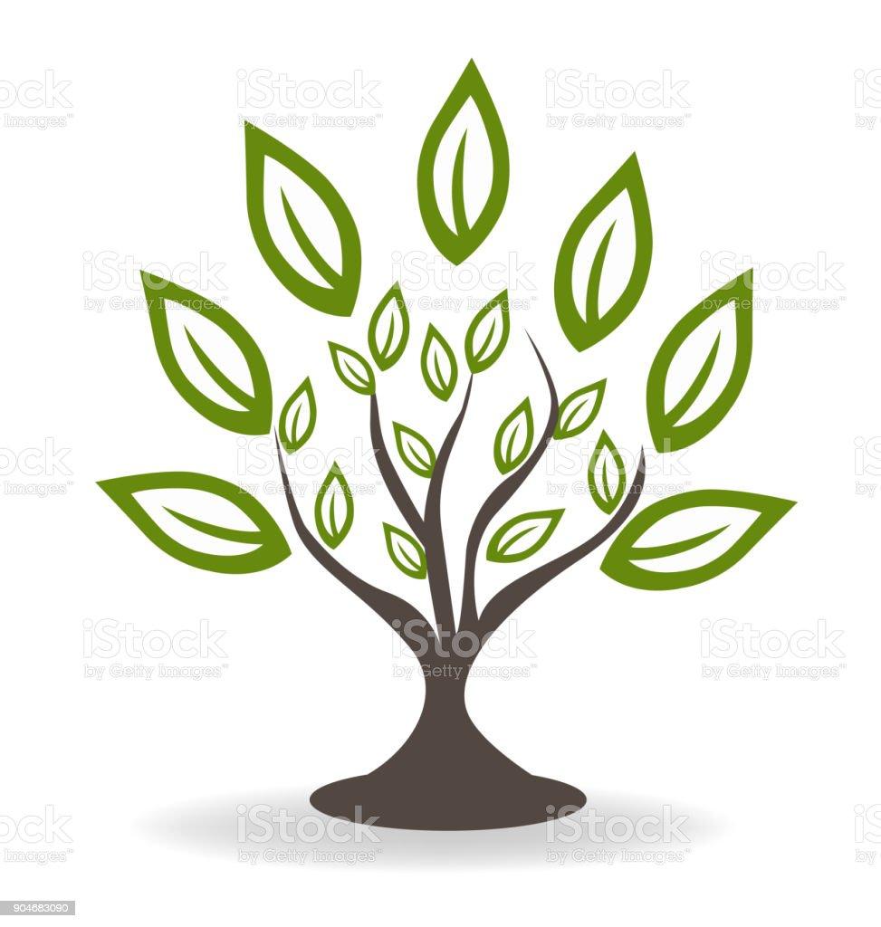 Baum mit schönen grünen Blätter Konzept Symbol Umgebungsvorlage – Vektorgrafik