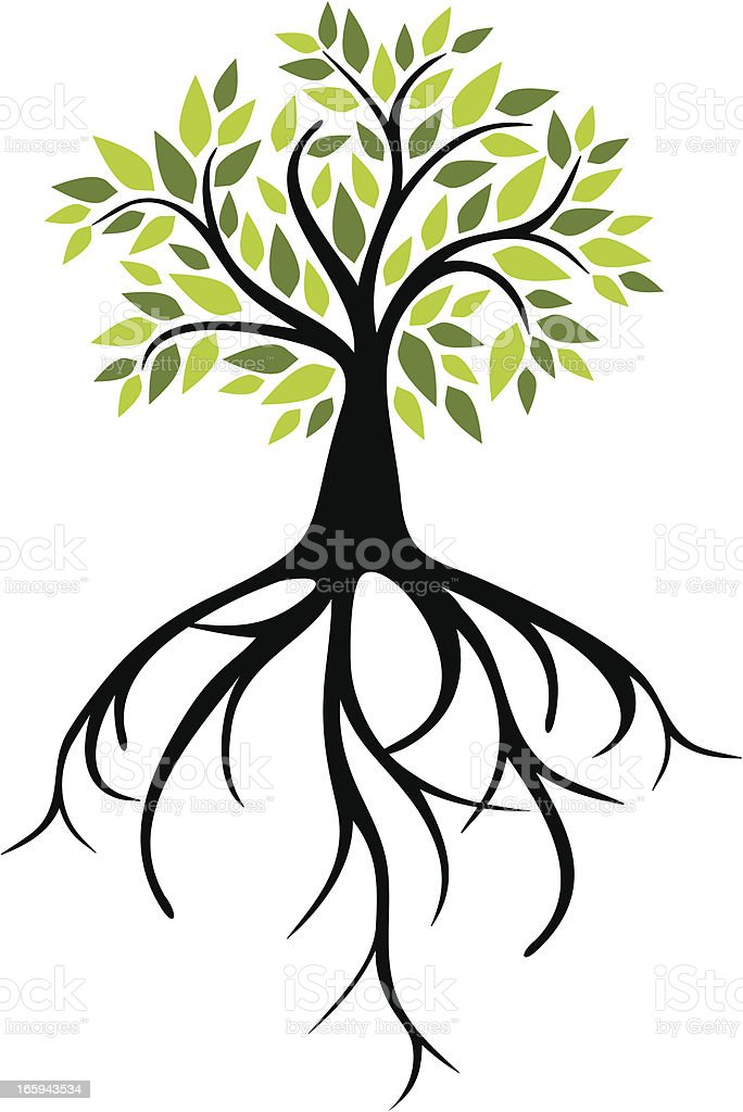 Tree with big roots royalty-free stock vector art