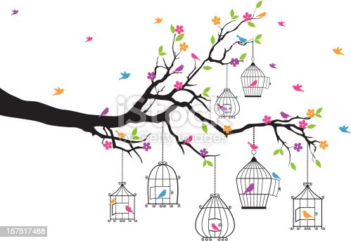 tree branch with birds and birdcages, vector illustration