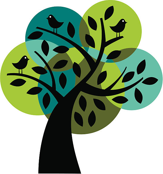 Tree with birds in cool colors vector art illustration