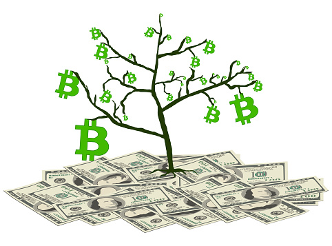 Tree with bitcoins stands on pile of paper dollars isolated on white. Concept of converting dollars into bitcoins. Vector illustration.