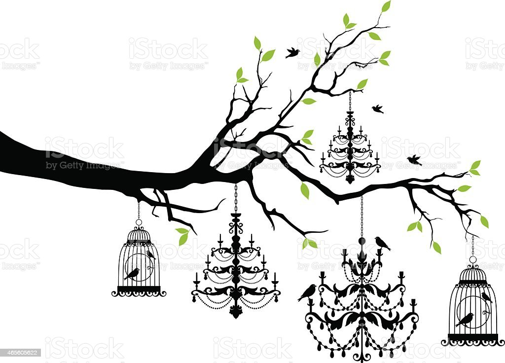 tree with chandelier and birdcage, vector vector art illustration