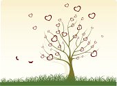 Illustration of a simple tree, surrounded by heart shapes rushing off.