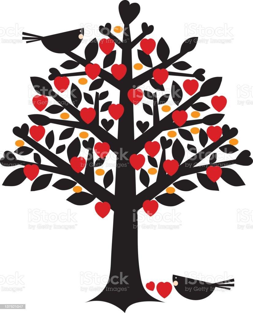 tree with full hearts vector art illustration