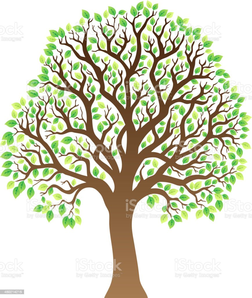 Tree with green leaves 1 vector art illustration