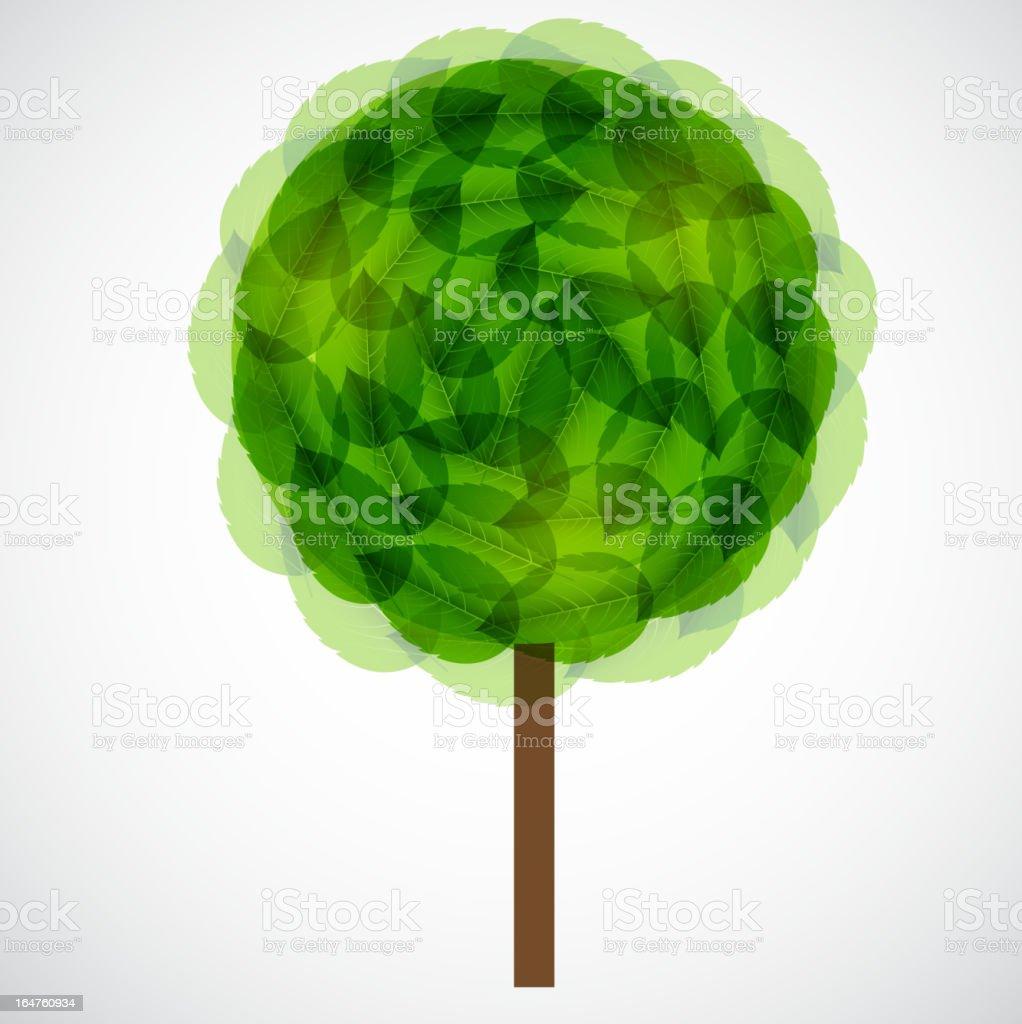 Tree with green leaves. Vector illustration. vector art illustration