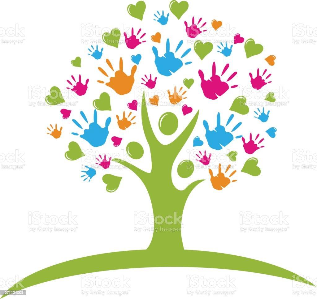Baum mit Hände und Herzen Zahlen Logo Vektor – Vektorgrafik