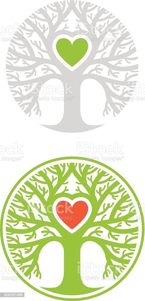 Tree with heart vector art illustration