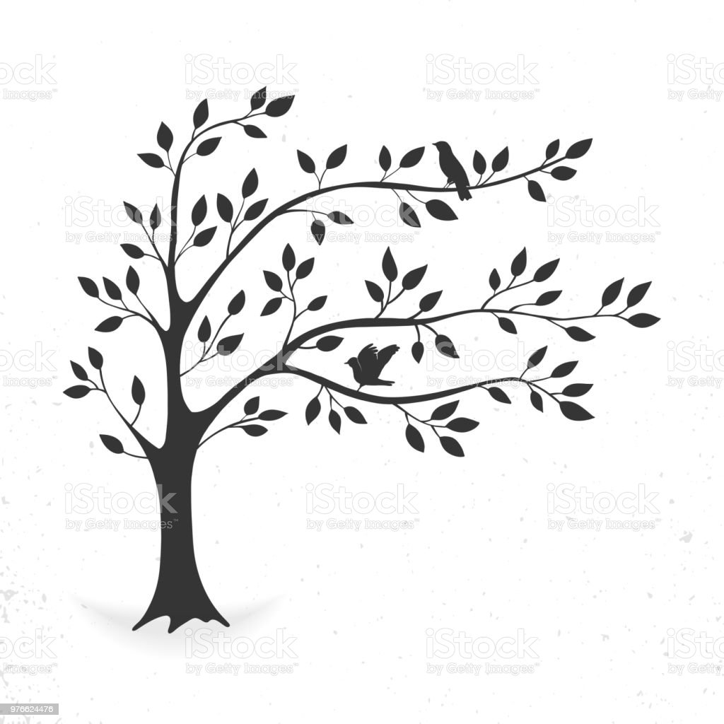 Tree with leaves and birds royalty-free tree with leaves and birds stock illustration - download image now