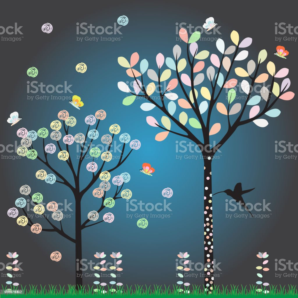 A tree with leaves as a pastel color The butterfly fly to appreciate the cute colors vector art illustration