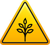 Tree with Leaves Growth Icon. This 100% royalty free vector illustration is featuring a yellow triangle button with rounded corners. The surface of the button is shiny and has a light effect on top. The main icon is depicted in black. There also a thin black outline around the edges of the triangle.