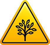 Tree with Leaves Icon. This 100% royalty free vector illustration is featuring a yellow triangle button with rounded corners. The surface of the button is shiny and has a light effect on top. The main icon is depicted in black. There also a thin black outline around the edges of the triangle.