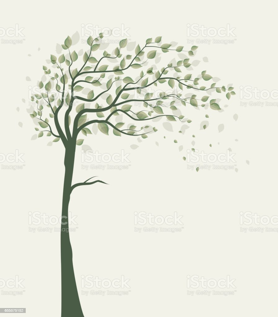 Tree with leaves vector art illustration