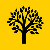 Tree with leaves.. The icon is black and is placed on yellow background. The composition is simple and elegant. The vector icon is the most prominent part if this illustration. The yellow and black contrast is a good representation for alert, warning and notice signs. The colors are flat and the image is 100% royalty free vector.