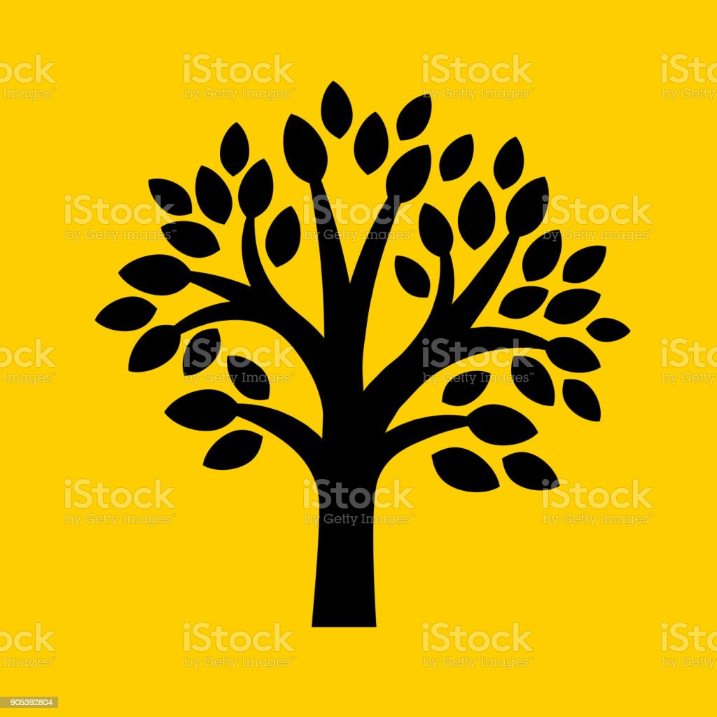 Tree with leaves. vector art illustration