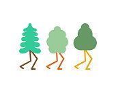 Tree with legs set cartoon style. Vector illustration