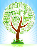 Tree with Modern Communication and Technology Word Pattern