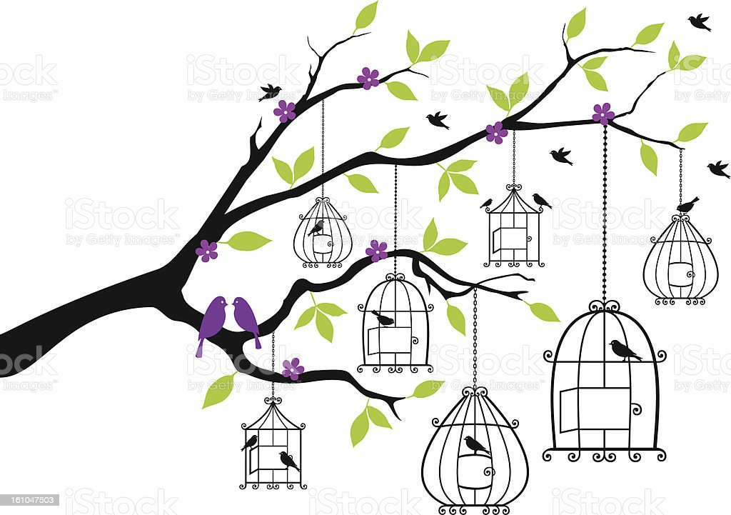 tree with open birdcages, vector vector art illustration