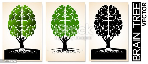 A tree with roots and a crown similar to the human brain. Logo or emblem of education, science or school