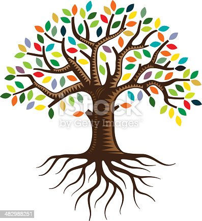 istock Tree with roots and brightly colored leaves 482988251